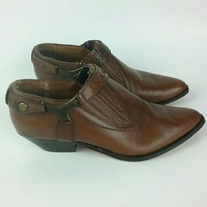 Seychelles Brown Leather Ankle Cowboy Boots 8.5